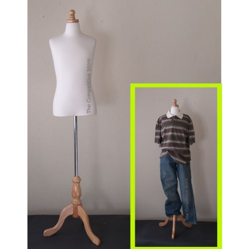 Kids 11-12 Years Child Jersey Mannequin Dress Form - Boy or Girl - White with Natural Tripod Base