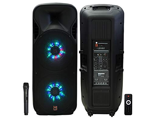 "Mr. Dj LETS JUMP 3-Way dual 15"" portable Active full range speaker, 5000 Watts P.M.P.O"