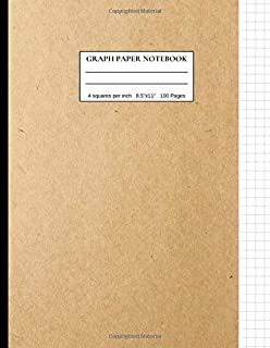 Graph Paper Notebook: 4 Squares Per Inch, 4x4 Graph Paper Notebook, 8.5