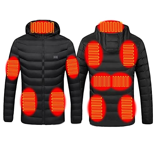 Brteyes Chaqueta ligera con calefacción por USB y calefacción eléctrica, abrigo para el cuerpo, chaqueta con capucha unisex (banco de energía no incluido), Negro, L