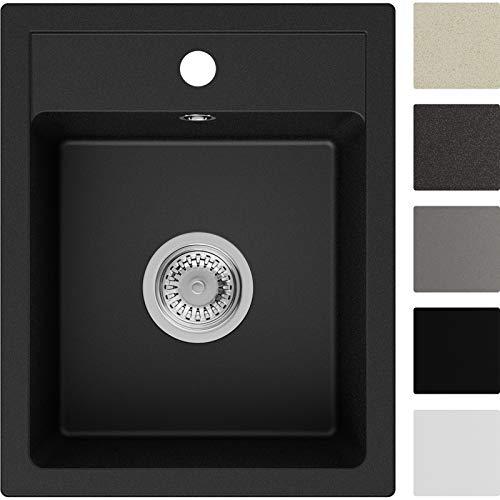 Spülbecken Schwarz 40 x 50 cm, Granitspüle + Siphon Klassisch, Küchenspüle ab 40er Unterschrank in 5 Farben mit Siphon und Antibakterielle Varianten, Einbauspüle von Primagran