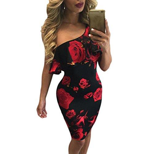 Kleid Damen Kolylong® Frauen elegant von der Schulter Rose Bedrucktes Partykleid Cocktail Sommer trägerlos Strandkleid Abendkleid Böhmisches Kleid (M, Rot)