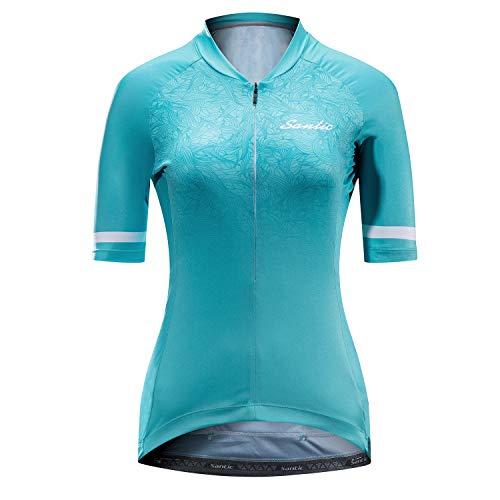 Santic Radtrikot Damen Kurzarm Fahrradtrikot Damen Fahrradshirt Radshirt Kurzarm Sommer mit Taschen Blau EU M
