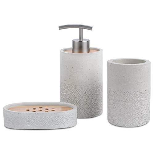 Satu Brown Badezimmerzubehör-Set, Seifenspender, Becher, Seifenschale, Zahnbürstenhalter, aus Beton und Bambus, zur Dekoration des Badezimmers