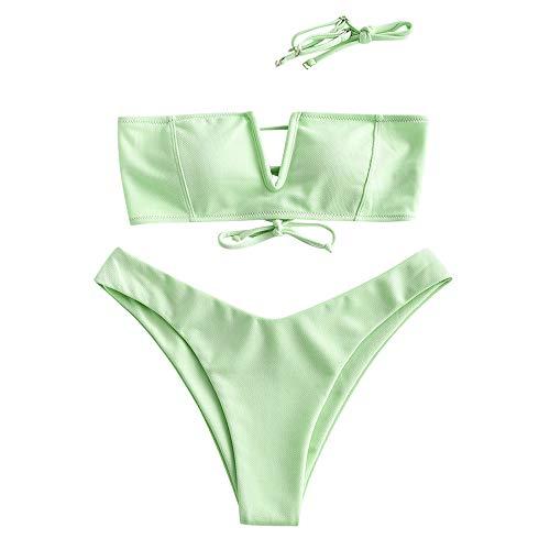 ZAFUL Damen V-Wired Lace Up Swimsuit Bikini Set Hellgrün M