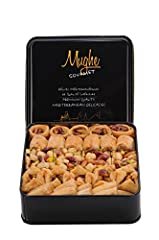 DISCOVER THE UNIQUE TASTE OF MUGHE GOURMET BAKLAVA - A fine selection of premium oriental desserts VEGETARIAN and GLUCOSE FREE presented in a elegant tin box. Containing five delicious Baklawa varieties. Enjoy a moment in Sultan's Palace. MUGHE GOURM...