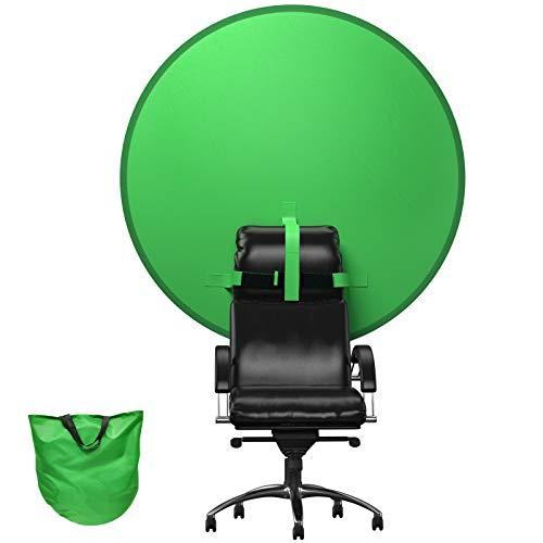 BANNIO Diametro 142 cm Green Screen Sedia,Sfondo Reversibile Fotografico,Fondale Fotografico Pieghevole,Portatile Telo Verde,Chroma Key Verde per il Trasporto per YouTube Montaggio Video,Verde