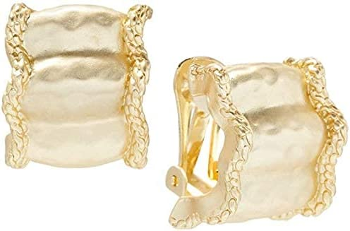 Misook Matte Gold Fashion Ripple Clip on Earrings With Soft Ripples for a Distinctive Texture - Gold-tone - Clip-on Closure