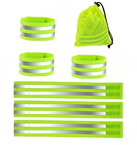 MQIAN 6er Set Reflektierendes Band,Reflektierendes Sicherheitsband,Reflektierendes Armband,Doppel Reflektorbänder für Radfahren,Laufen,Joggen im Dunkeln