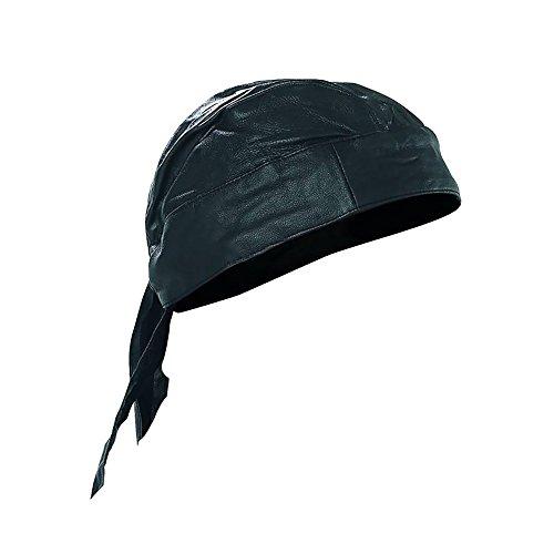 Skull Cap Biker Solid Leather Lined Motorcycle Bandana Head Wrap Du Doo Do Rag Black
