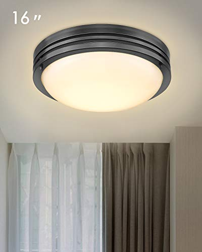 Galtlap 15W LED Ceiling Light Fixture, 16'' Flush Mount Light Fixture, Oil Rubbed Bronze Round Ceiling Lamp for Bedroom, Kitchen, Bathroom, Hallway, Stairwell, 3000K Daylight Whitel