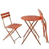 AFP Bistroset 3-teilig orange - Metallmöbel-Set Tisch rund + 2 Stühle klappbar, Balkonset, kleine Gartenmöbel Garnitur Balkonmöbel stabile Ausführung, farbig