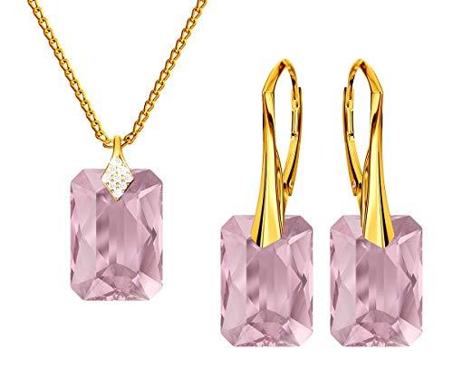 *Beforya Paris * Novedad Smeraldschliff *Light Rose * - Plata 925 / Chapado en oro de 24 K – joyas con cristales de Swarovski Elements – Pendientes y collar con caja de regalo