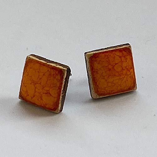 Unique Handmade Ceramic Stud Earrings for Women; Small Orange Squares; Cute Jewellery Accessories; Gift for Her Mum Sister Girls Friends