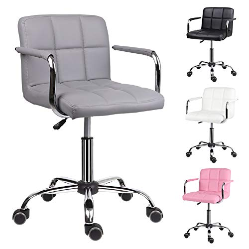 EUCO Grey Desk Chair,PU Leather Computer Chair Adjustable Height Comfy Office Chair with Armrest Padded Swivel Chair,Home/Office Furniture