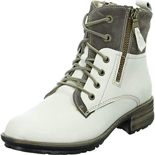 Josef Seibel Damen Stiefel Sandra 91, Frauen Schnürstiefel, leger Boots Combat schnürung gefüttert Lady Ladies,Weiß(Weiss-Kombi),43 EU / 9 UK