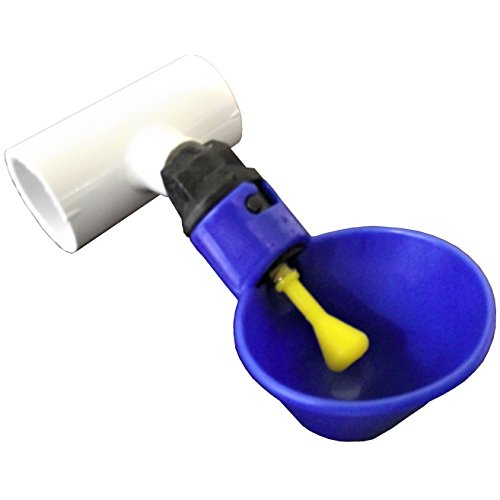 Rite Farm Products (6) Blue Automatic Waterer Drinker Cups & 1/2' PVC TEE Fittings Chicken Water Poultry