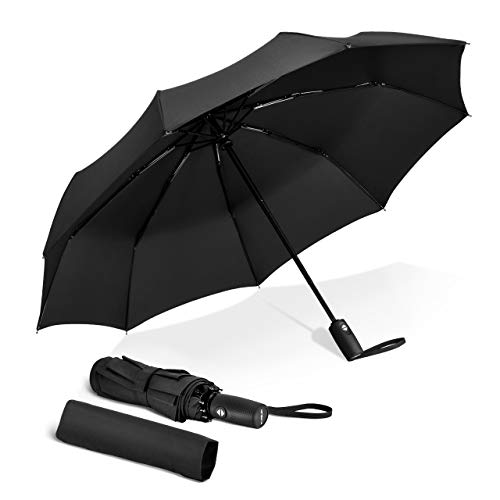 TOPELEK Windproof Umbrella, UV Sun-block, Fast Drying, Sturdy [9 Ribs] Waterproof Reinforced Frame, Auto Open and Close, Non-slip Handle, Golf, Pocket, Travel Folding Umbrella, Lifetime Replacement