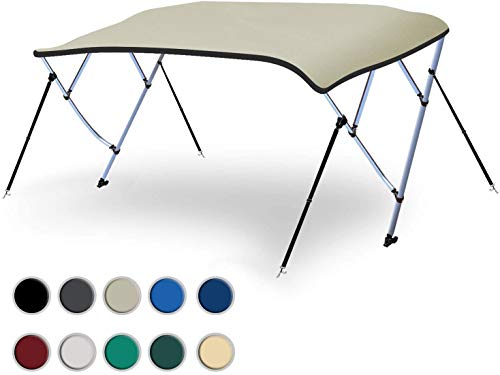 "Naviskin Light Grey 3 Bow 6'L x 46"" H x 54""-60"" W Bimini Top Cover Includes Mounting Hardwares,Storage Boot with 1 Inch Aluminum Frame"
