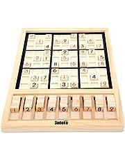 Houten Sudoku-puzzelbordspel, cijferpuzzel Educatief speelgoed voor reizen, wiskunde Brain Teaser desktopspeelgoed, Sudoku-bordspel met cijfertegels - voor 4 5 6 7 jaar oude kinderen