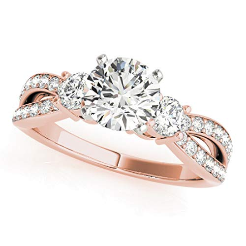 Bridal Set Ring with 1.75 cttw (3/4 Carat Center Stone) of Natural Round Shape Diamonds available in 14K White, Yellow or Rose Gold. Free Designer Gift Box. Free Certificate.