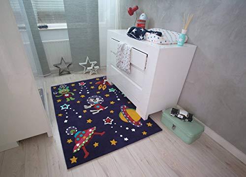 Kinderteppich Kosmos Weltall Rakete Astronaut Teppich Violett Bunt 110X160cm