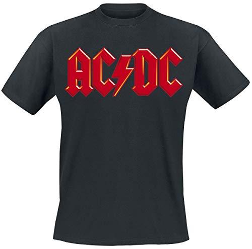 AC/DC Red Logo Hombre Camiseta Negro M, 100% algodón, Regular