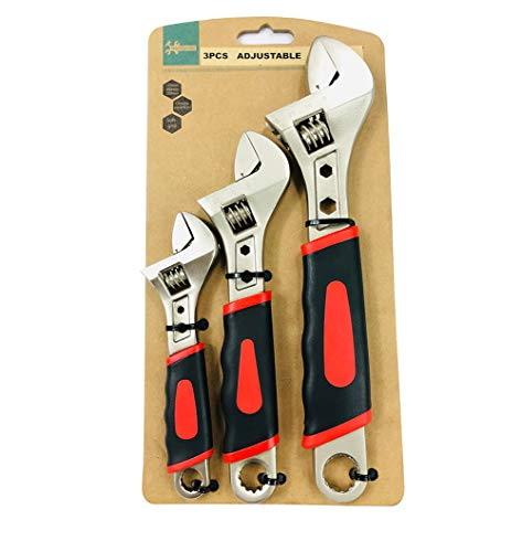 Navegando Adjustable Wrenches Set, Shifter Movable Spanners Set Adjustable Wrench Tools Kit with Rubber Grip (6/ 8/ 10 IN)