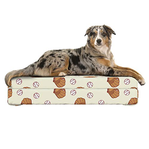 Lunarable Baseball Dog Bed, Gloves and Balls Pattern in Cartoon Style Professional Player Tournament, Dog Pillow with High Resilience Visco Foam for Pets, 32