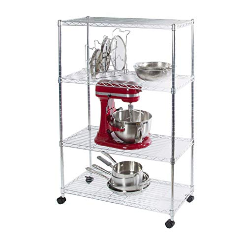 Seville Classics 4-Tier Steel Wire Shelving with Wheels, 30' W x 14' D x 48' H, Chrome