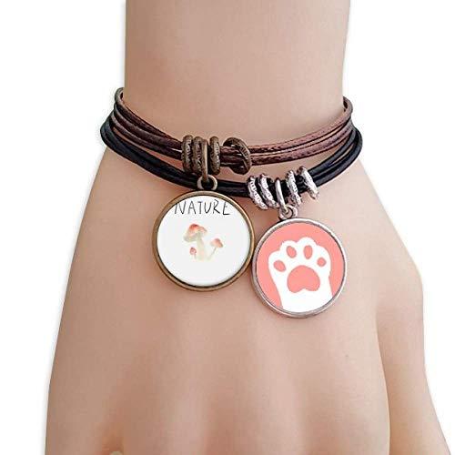 DIYthinker Damen Pilz-Pflanze Soloisland Gemälde Katzen-Armband-Leder-Seil-Armband Paar Sets
