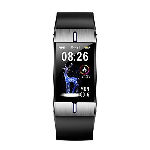 YNLRY Reloj inteligente con frecuencia cardíaca, frecuencia cardíaca, previsión meteorológica, pulsera deportiva para Android IOS (color: negro)