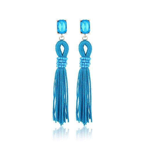 [Entrega en 8-12 días laborables] Fasherati azul turquesa estilo bohemio cristal con pendientes largos borlas para las mujeres