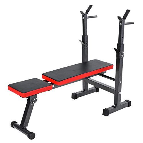 Panca per Sollevamento Pesi con portabilanciere rack stand pieghevole fitness panca per la pressa multifunzione Attrezzature per la formazione della forza, con capacità di inclinazione e declino