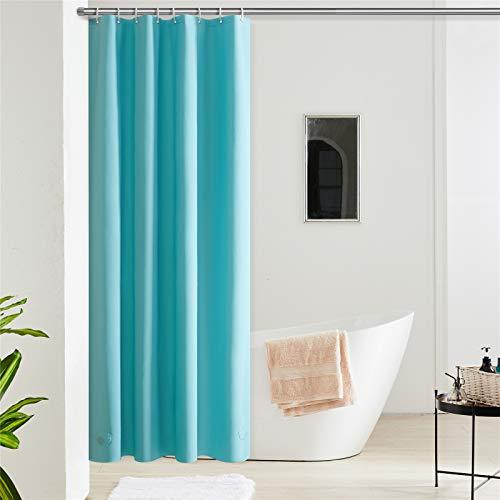 Furlinic Duschvorhang Anti-schimmel Wasserdicht Klein Badvorhang aus Eva 120x180cm Türkis mit 8 Duschvorhangringen Saum mit Steinen.