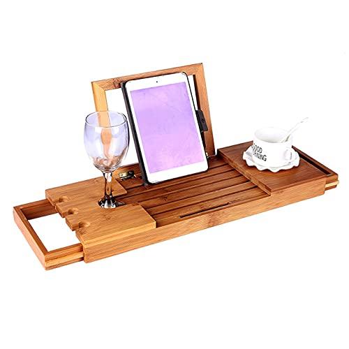 WWJZXC Bamboo Bath Caddy Bridge Estensibile di Lusso per Libri, Supporto per Bicchieri da Vino, Vassoio per dispositivi (Tablet, Kindle, iPad, Smart Phone)