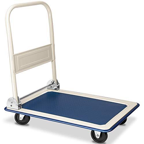 Deuba Plattformwagen bis 150 kg klappbar Antirutsch Beschichtung Transportwagen Transportkarre Transportroller Metall