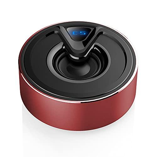 Mini Altavoz Portátil Metal Bajo Pesado Inalámbrico Compatible con Bluetooth 5.0 Subwoofer Sonido con Micrófono Rojo