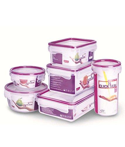 Princeware Purple Virgin Plastic Containers - Set Of 6