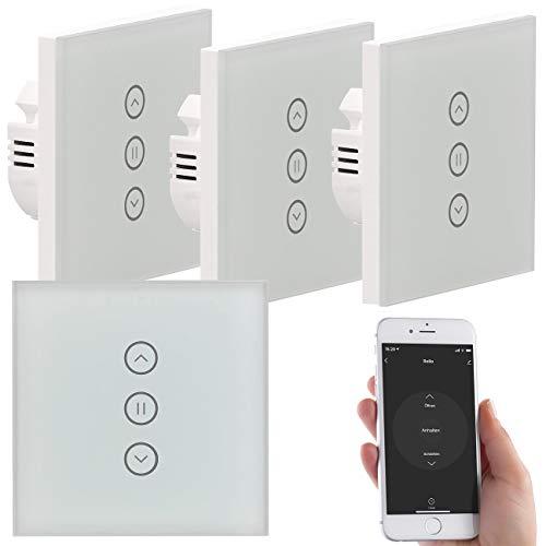 Luminea Home Control Rolladenschalter: 4er-Set Rollladen-Touch-Unterputz-Steuerung, App & Sprachsteuerung (Rolloschalter)