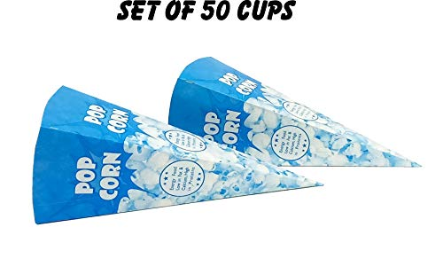 LINE 'N' CURVES Popcorn Favor Boxes, Carnival Parties Cups, Disposal Popcorn Cups, Snacks Container (Set of 50 Cups)