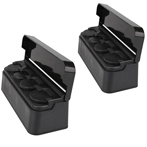Soleebee Schwarz Portable Auto Münzhalter mit 4 Fächer Aufbewahrungsbox Münzbox für Euro Münzen Münzsammler mit Abdeckung (Set von 2Stk)