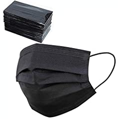 HIGH QUALITY 3 LAYER FACE MASKS: 50 Pack Individually Wrapped Disposable Black Face Mask, Breathable safety face masks are made of high quality facial mask non-woven fabric. Outer layer is effective dust waterproof; Middle layer stop particles; Inner...