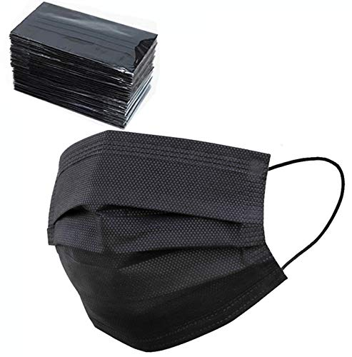 50 Pcs Black Disposable Face Masks Breathable Dust Mask Stretchable Elastic Ear Loops- Individually Wrapped Disposable Black Face Mask