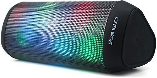 Altavoz Bluetooth portátil con Luz de 7 Modos Recargable USB Altavoces Bluetooth Potentes, Altavoz portátil Sonido Estéreo 360°TWS. Efecto de Triple Bajo Potente