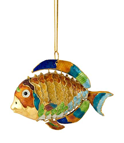 Value Arts Handmade Cloisonne Articulate Rainbow Tilapia Ornament