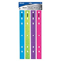"""BAZIC JEWELTONES COLOR RULERS. Each pack of 12 inch color rulers come with four (4) different colors: blue, green, orange, and purple. With 1/16"""" and metric scales and holes for three-ring binders, each ruler is crafted for functionality CRAFTED FOR ..."""