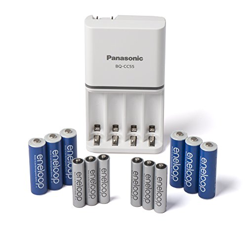 Panasonic K-KJ55MBS66A eneloop Power Pack; 6AA, 6AAA, and Advanced Battery 3 Hour Quick Charger (Battery Color May Vary)
