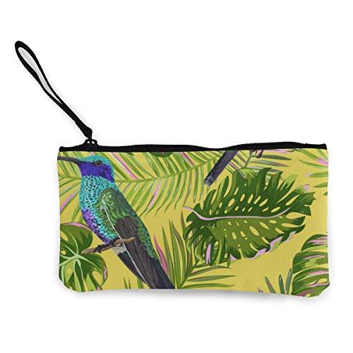 Yuanmeiju Floral Tropical Seamless Pattern mit Kolibri niedlichen Leinwand ändern Münze Brieftasche Tasche Tasche Reißverschluss Halter Geldbörse Handgelenk Riemen Make-up Bleistift Fall angepasst