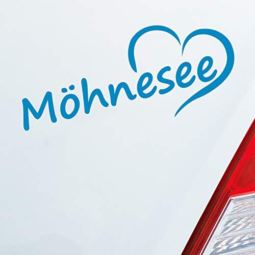 Auto Aufkleber in deiner Wunschfarbe Möhnesee Sauerland HSK Soest Herz Stadt Liebe Love 20x8 cm Autoaufkleber Sticker
